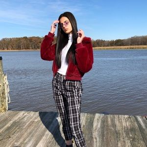 Jackets & Blazers - Maroon Red faux fur coat